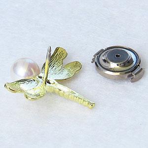 あこや本真珠:パール:K18:ゴールド:タイニーピン:ピンブローチ:ピンクホワイト系:6-6.5mm:ダイヤモンド:0.02ct:トンボ:18金:真珠