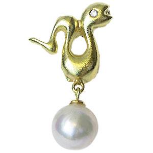 あこや本真珠:パール:K18:ゴールド:タイニーピン:ピンブローチ:ピンクホワイト系:7.5-8mm:ダイヤモンド:0.01ct:ヘビ:蛇:スネーク:18金:真珠:金運