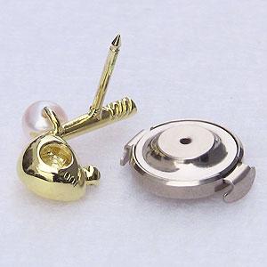 あこや本真珠:パール:K18:ゴールド:タイニーピン:ピンブローチ:ピンクホワイト系:ダイヤモンド:0.01ct