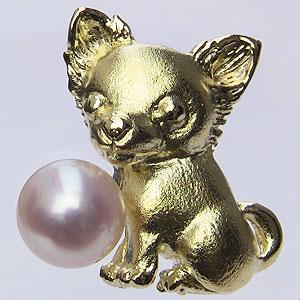 あこや本真珠:パール:K18:ゴールド:タイニーピン:ピンブローチ:ピンクホワイト系:チワワ