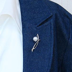 真珠:パール:ブローチ:南洋白蝶真珠:10mm:ピンクホワイト系:K18WG:ホワイトゴールド:ダイヤモンド:0.10ct