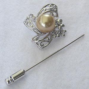 真珠:パール:ブローチ:兼:ペンダント:南洋白蝶真珠:ゴールド系:直径10mm:ピンブローチ:SV:シルバー