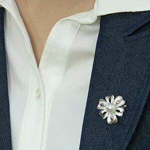 パール:ブローチ:ペンダントブローチ:真珠:ホワイトパール:南洋白蝶真珠:ホワイト系:直径10mm:花:リボン:SV:シルバー