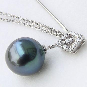 タヒチ黒蝶真珠:ピンブローチ:ダイヤモンド:パール:グリーン系:11mm:K18WG:ホワイト:ゴールド:ラペルピン