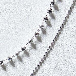 ネックレス ダイヤモンド ネックレスペンダント 0.20ct K18WG ホワイトゴールド ボールチェーン ミラーボールチェーン重ね付け風デザイン 4月誕生石 送料無料【RCP】