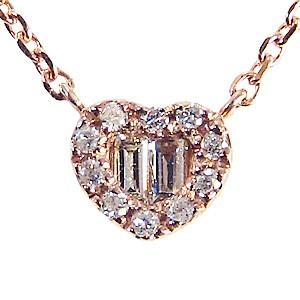 ハート ダイヤモンドペンダント ネックレス ピンクゴールド  K18