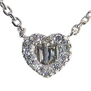 ハート ダイヤモンドペンダント ネックレス ホワイトゴールド  K18