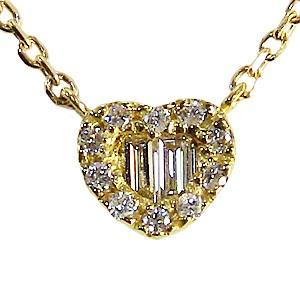 ハート ダイヤモンドペンダント ネックレス イエローゴールド  K18