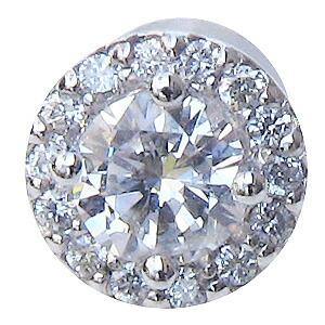ダイヤモンド ピアス PT900 プラチナ 片耳用ピアス  シリコンキャッチ付き