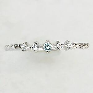 ブルーダイヤモンド0.02ct ダイヤモンド 0.04ct リング K18WGホワイトゴールド 指輪 デザインリング 4月誕生石
