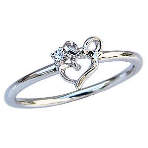 ダイヤモンドリング ピンキーリング ダイヤモンド指輪 ダイヤモンド 一粒 ハートモチーフ リボンモチーフ プラチナ PT900