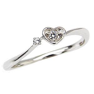 ハートリング ダイヤモンドリング ピンキーリング プラチナ 指輪 ダイヤモンド 0.03ct ハートモチーフ