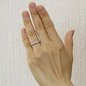 ダイヤモンドリング エタニティリング  ダイヤモンド 0.30ct ハーフエタニティ 指輪 K18 ホワイトゴールド