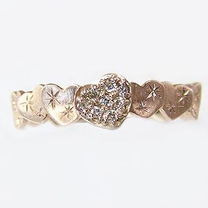 ハートリング ダイヤモンドリング 指輪 ハートモチーフ ピンクゴールド K10 ダイヤ 0.06ct