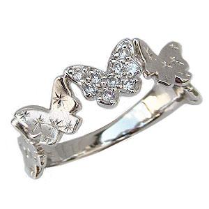 バタフライ ダイヤモンド リング 指輪 蝶々モチーフ ホワイトゴールド K18WG ダイヤモンド 0.09ct