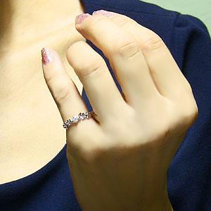 ダイヤモンドリング ピンキーリング 花 フラワー リング 一粒ダイヤモンド 指輪 ダイヤモンド0.20ct