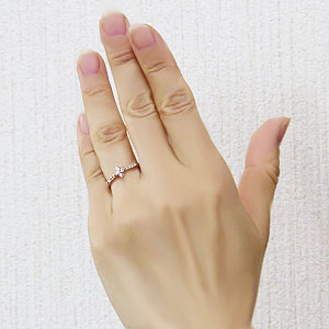 ダイヤモンドリング 指輪 フラワーモチーフ 花 ピンクゴールド  K10 ダイヤモンド 0.14ct