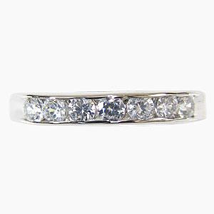 ダイヤモンド 0.49ct 指輪 4月誕生石 K18WG ホワイトゴールド ハーフエタニティーリング