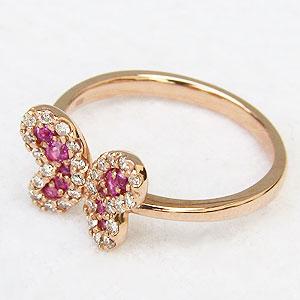 ダイヤモンド ピンキーリング ピンクサファイア リング 蝶 バタフライ 指輪 K18 ピンクゴールド プレゼント