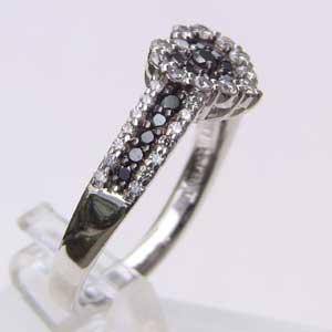 指輪ダイヤモンド リング ブラックダイヤ ハート K18WG 指輪