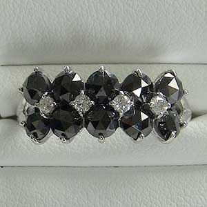 指輪ダイヤモンド リング ブラックダイヤモンド K18WG ホワイトゴールド 指輪