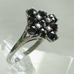 ダイヤモンド リング 一粒 ブラックダイヤモンド K18WG ホワイトゴールド 指輪