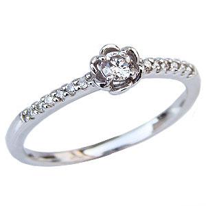 ダイヤモンド リング ダイヤモンド 指輪 ホワイトゴールド  K18 花 フラワー