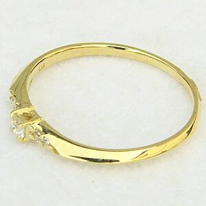ピンキーリング ダイヤモンドリング 指輪 K18 ゴールド ダイア