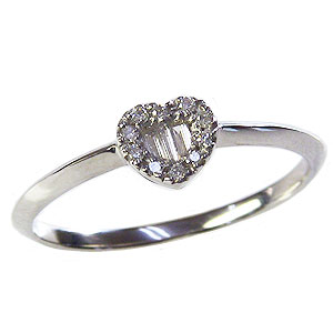 ハート ダイヤモンドリング 指輪 ホワイトゴールド K18