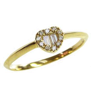 ハート ダイヤモンドリング 指輪 イエローゴールド K18