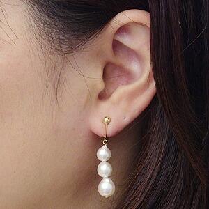 K18:あこや本真珠:イヤリングパール:約6.5mm,7mm,7.5mm:ピンクホワイト系