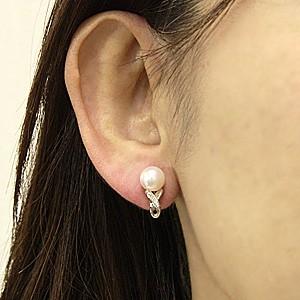 真珠 パール あこや本真珠 イヤリング PT900 プラチナ 真珠の径 8mm ピンクホワイト系 ダイヤモンド 10石 0.04ct アコヤ真珠 6月誕生石