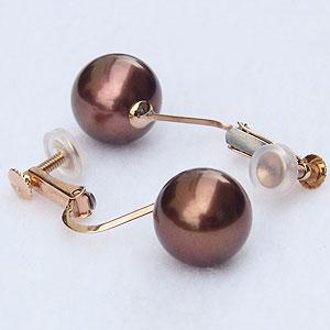 真珠 パール:イヤリング:ショコラパール:9mm:ピンクゴールド:K18:18金:ネジバネ式