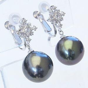 真珠:パール:イヤリング:タヒチ黒蝶真珠:ブラックパール:直径11mm:ダイヤモンド:K18WG:ホワイトゴールド