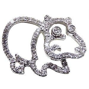 ブローチ カバ かば ピンズ 河馬 ラベルピン ダイヤモンド K18WGホワイトゴールド ジュエリー【RCP】