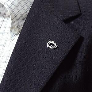 メンズブローチ イノシシ 男性用 いのしし ピンズ 豚 猪 ラベルピン ダイヤモンド K18WGホワイトゴールド メンズジュエリー【RCP】