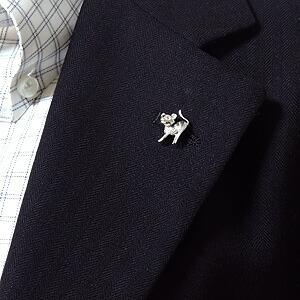 ブローチ ねこ ネコ ピンズ 猫 CAT ラベルピン ダイヤモンド K18WGホワイトゴールド ジュエリー【RCP】
