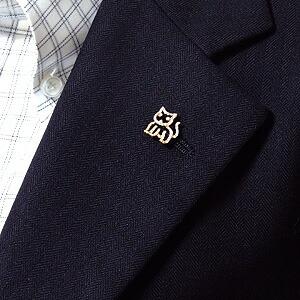 メンズブローチ 猫 男性用 ねこ ピンズ キャット ラベルピン ダイヤモンド K18 メンズジュエリー【RCP】
