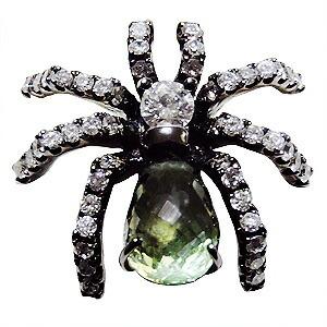メンズブローチ 蜘蛛 男性用 くも ピンズ スパイダー ラベルピン ダイヤモンド グリーンサファイア K18ホワイトゴールド メンズジュエリー【RCP】