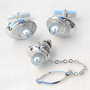 真珠 パール タイタック カフス 2点セット あこや本真珠 7-7.5mm ブルーグレー系 SV シルバー メンズ 6月誕生石