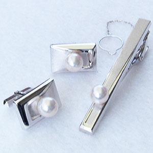 真珠:パール:タイバー:カフス:セット:あこや本真珠:7-7.5mm:ピンクホワイト系:K14WG:ホワイトゴールド:メンズ
