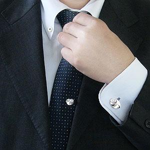 真珠:パール:タイタック:カフス:セット:あこや本真珠:7-7.5mm:ピンクホワイト系:K14WG:ホワイトゴールド:メンズ