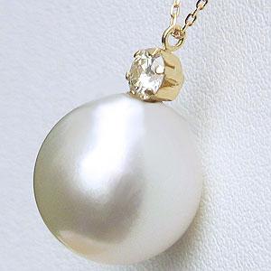 真珠:パール:ペンダント:ネックレス:南洋白蝶真珠:ホワイト系:12mm:K18:ゴールド:18金:ダイヤモンド:0.20ct
