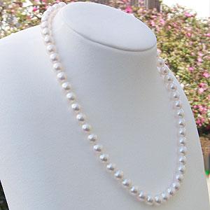 あこや本真珠:ネックレス:チョーカー:ピンクホワイト系:7.5mm-8mm:パール:真珠:アコヤ