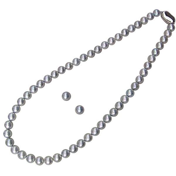 あこや本真珠:ネックレス:チョーカー:ピンクグレー系:7.5mm-8mm:パール:ネックレス&イヤリング:2点セット