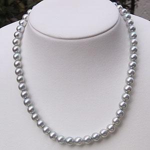 あこや本真珠:ネックレス:チョーカー:ピンクグレー系:7.5mm-8mm:パール:ネックレス&イヤリングまたはピアス:2点セット