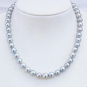 パールネックレス 真珠ネックレス ナチュラル ブルーグレー系 8-8.5mm あこや本真珠 ネックレス バロック型