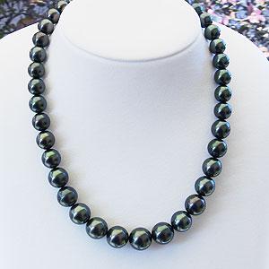 パールネックレス:真珠ネックレス:タヒチ黒蝶真珠:ブラックパール:黒真珠:9.5mm-13.6mm:全長約45cm:SV:シルバー
