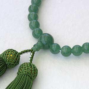 アベンチュリン:印度翡翠(インドヒスイ)念珠:数珠:8mm:片手用:女性用
