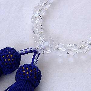 カット水晶:念珠:数珠:7mm:クリスタル:片手用:女性用